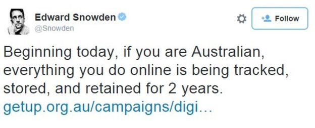 edward snowden on meta data law in Australia