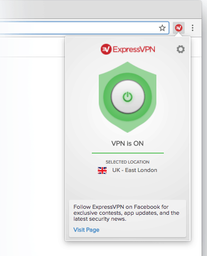 expressvpn review - extension UI