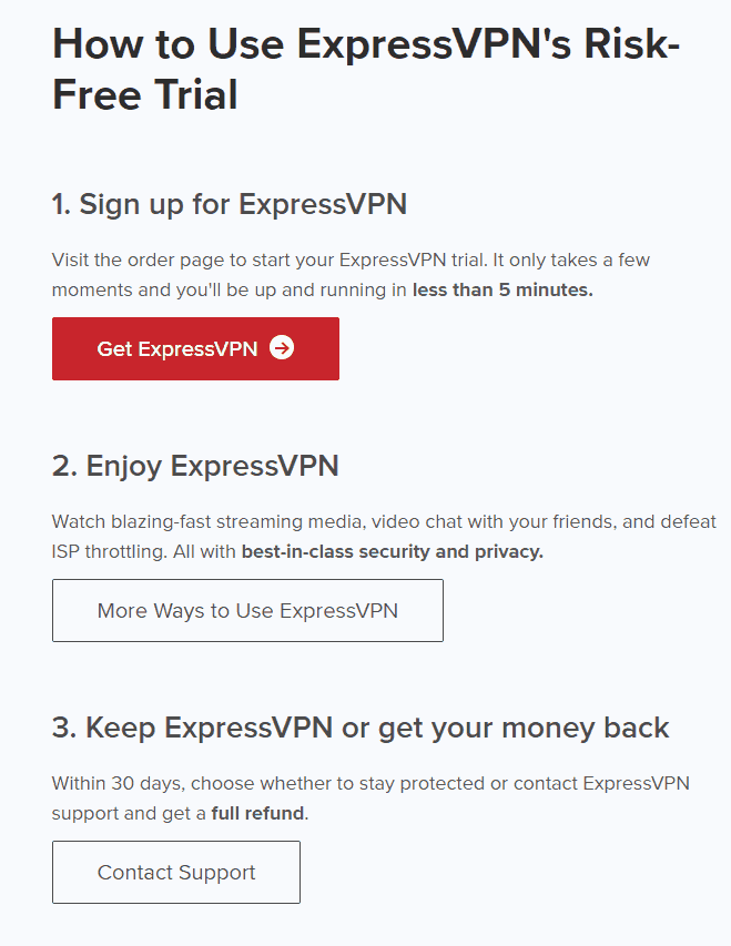 expressvpn review - trial page