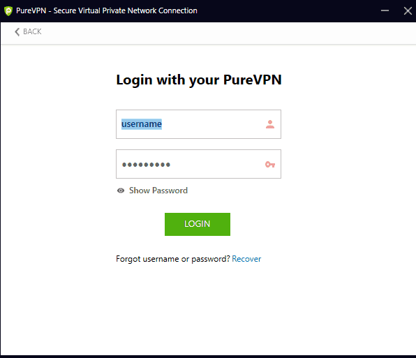 Login in VPN app